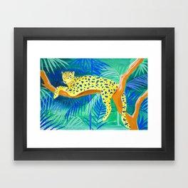 Leopard on Tree Framed Art Print