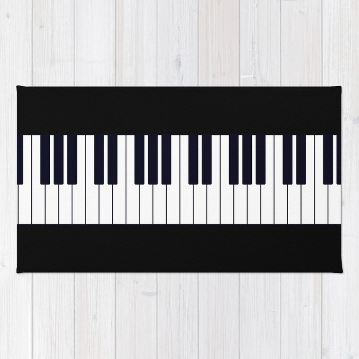 Piano Keys Black And White Simple Pattern Minimalistic Music Themed Artwork Rug