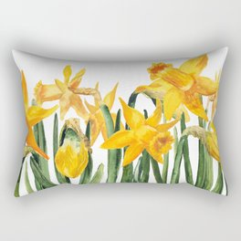 watercolor yellow narcissus Rectangular Pillow