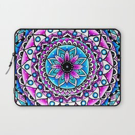 Mandala #2 Wall Tapestry Throw Pillow Duvet Cover Bright Vivid Blue Turquoise Pink Contempora Modern Laptop Sleeve