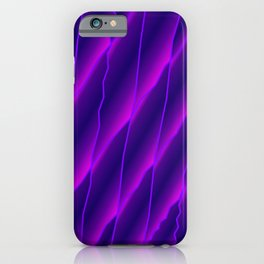 Slanting repetitive lines and rhombuses on luminous violet with intersection of glare. iPhone Case
