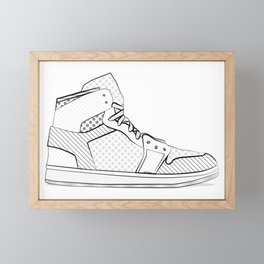sneaker illustration pop art drawing - black and white graphic Framed Mini Art Print