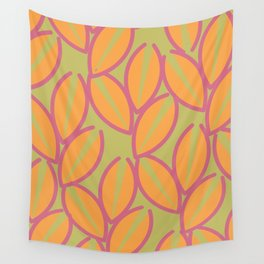 Orange Foliages on Pistache Wall Tapestry
