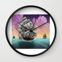 ships Wall Clocks featuring Rigged Ships by Yoly B. / Faythsrequiem
