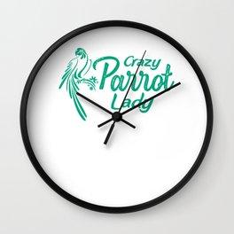 Crazy Parrot Lady gr Wall Clock