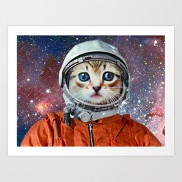 Astronaut Cat #4 Art Print