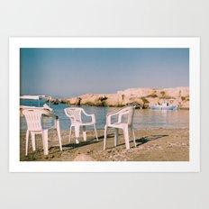 Chair Conversation at the beach Art Print
