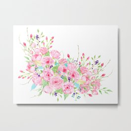 Watercolor Pink Rose Bouquet Metal Print