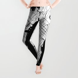 New York City White on Black Leggings