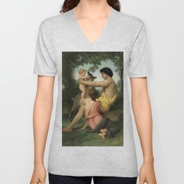 "William-Adolphe Bouguereau ""Idylle: famille antique"" Unisex V-Neck"
