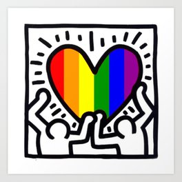 Pride heart, tribute to Keith Haring. Great LGBT gift. Art Print