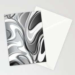 Liquify in Gray, Black and White Stationery Cards