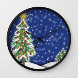 Lighted Christmas Tree at Night with Snowflakes Wall Clock