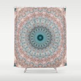 Blue beige , mandala  3 Shower Curtain