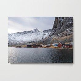 Kirkefjord fishing village, Lofoten Metal Print