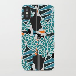 Guitars, flowers and leaves iPhone Case