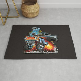 Classic hot rod 57 gasser drag racing muscle car cartoon Rug