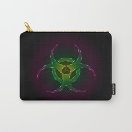 An illustration of a fluorescent biohazard symbol.  Carry-All Pouch