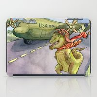 pilot iPad Cases featuring Tyranosaurus Pilot by Theresa Lammon