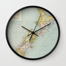 Vintage Map of New Zealand (1883) Wall Clock