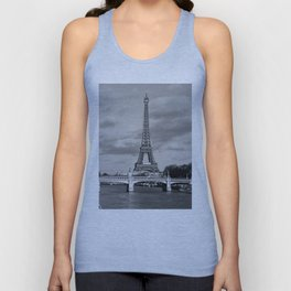 Eiffel Tower Black & White Unisex Tank Top