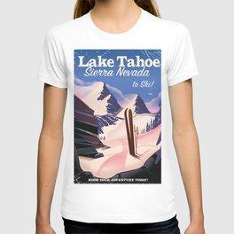 Lake Tahoe vintage ski travel poster T-shirt
