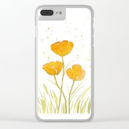 Watercolor California Poppies Clear iPhone Case