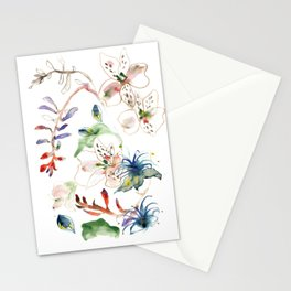 Loose lilies and blue flowers Stationery Cards