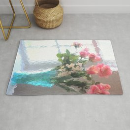 Impressionistic French Aqua Coral Pink Roses Tulips Floral Decor Rug