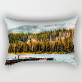 boat on the lake with pine tree and mountain background at Mammoth Lakes, California, USA Rectangular Pillow