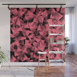 abstract pastel red shapes against black background Wall Mural
