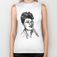 fitzgerald Biker Tanks featuring Icon: First Lady of Song by DalkeDesigns