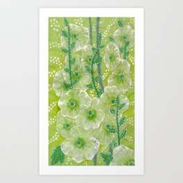 Hollyhock Mallows, Summer Flowers, Floral Collage Chartreuse Art Print