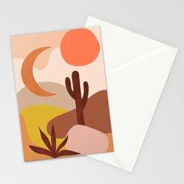 Desert Geometric Landscape Cactus Sunset Southwestern Abstract Print Stationery Cards