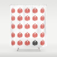 pomegranate Shower Curtains featuring Pomegranate by Et Voilà