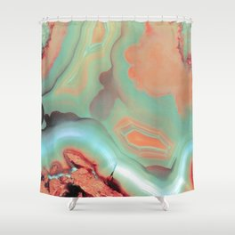 Living Coral and Teal Agate Shower Curtain