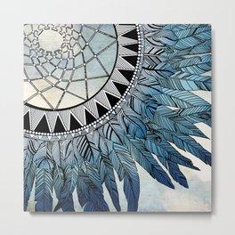 blue feather dreamcatcher Metal Print