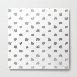 Abstract elegant faux silver geometrical brushstrokes pattern Metal Print