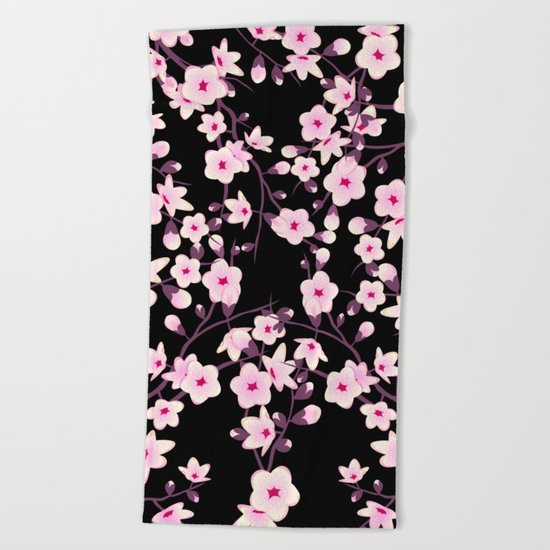 Cherry Blossoms Pink Black Beach Towel