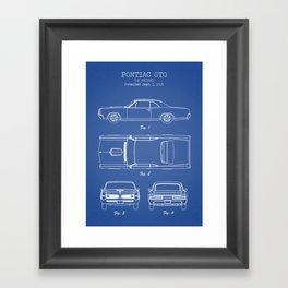 PONTIAC GTO patent print, pontiac gto poster, muscle car decor, pontiac gto blueprint Framed Art Print