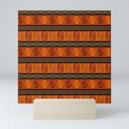 Ethnic african tribal pattern with Adinkra simbols. Mini Art Print
