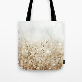 Dewdrop Nature Photography, Neutral Dew Drop, Gold White Brown Beige, Cream Water Drops Tote Bag