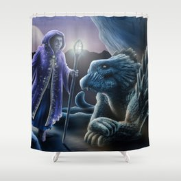 The sorceress and the dragon Shower Curtain