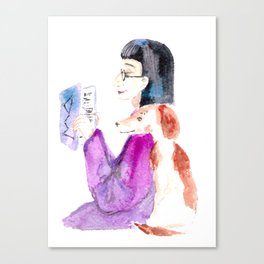 amazing woman.  reading along with the dog Canvas Print