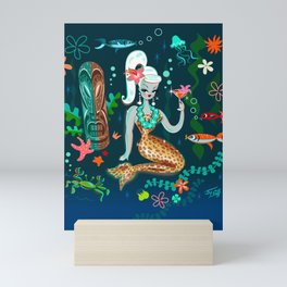 Blonde Leopard Martini Mermaid Mini Art Print