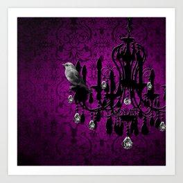 Bird & Purple Damask Sparkly Chandelier Silhouette Art Print