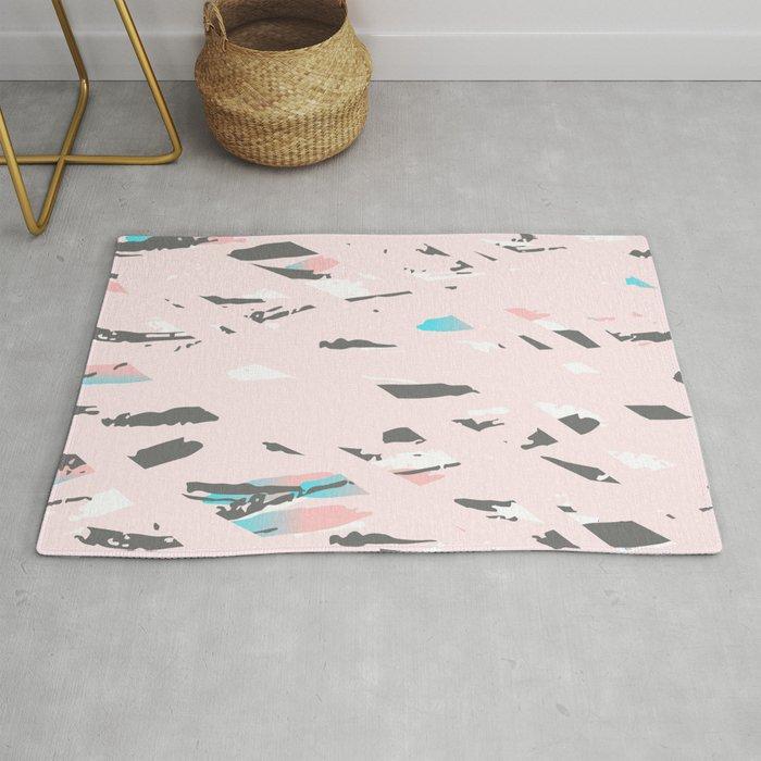 Milky Pink Terrazzo Floor Rug By Sokolanna