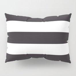 Raisin black - solid color - white stripes pattern Pillow Sham