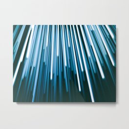 Hyperspace Fiber Optics Blue white Streaks Of Light Metal Print