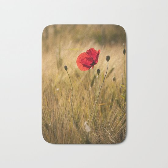 Poppies in a summerfield - Flowers Floral on #Society6 Bath Mat